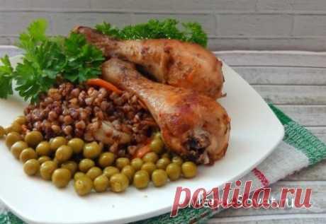 Рецепт приготовления куриных голеней с гречкой в духовке
