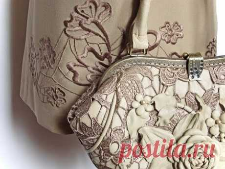 Master class in production of a handbag Tenderness from genuine leather and the Venetian lace