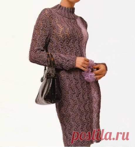 Элегантное платье, связанное ажурным узором спицами (с описанием) | Идеи рукоделия | Яндекс Дзен
