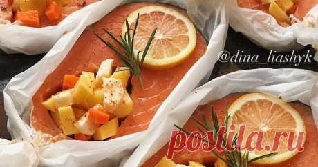 Стейк сёмги в бумажной лодочке с овощами - пошаговый рецепт с фото.