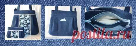 Джинсовая сумка (выкройка)  Джинсовая сумка            источник