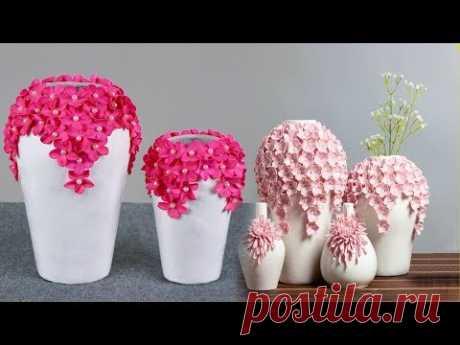Beautiful flower Vase making at home // Paper Flower vase make - YouTube