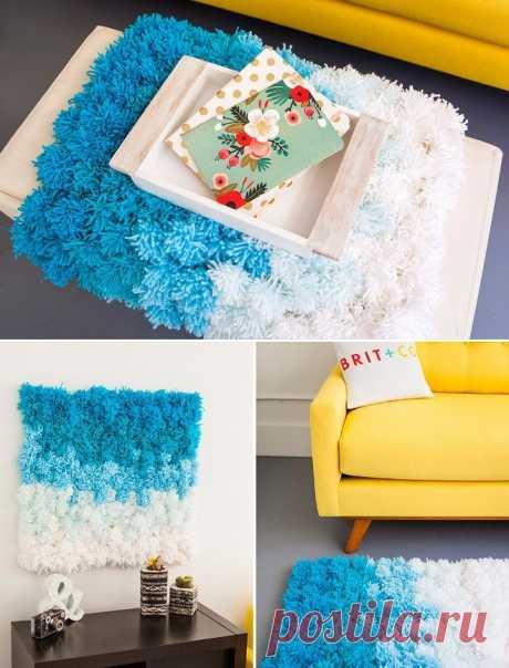 Необычный коврик из помпонов — Сделай сам, идеи для творчества - DIY Ideas