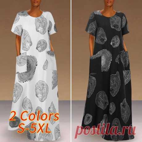 Женское летнее платье макси 2021, модный сарафан VONDA с принтом, повседневные платья с коротким рукавом, женские платья с круглым вырезом, женское платье 5XL Платья    АлиЭкспресс