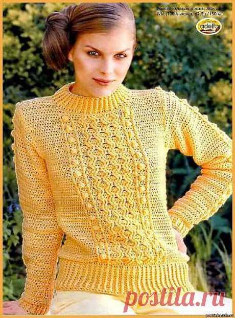 Лучезарный пуловер. Как связать пуловер. Схема вязания пуловера. - Схемы вязания пуловера - Схемы для вязания - Уроки вязания крючком - Вязание крючком, мотивы, схемы для вязания крючком