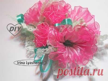 Цветы из лент на повязку МК/ Flowers from ribbons DIY/ PAP Flores de fitas #142