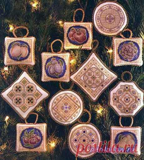 Эксклюзивные вышитые рождественские игрушки Терезы Венцлер « Мир моих увлечений