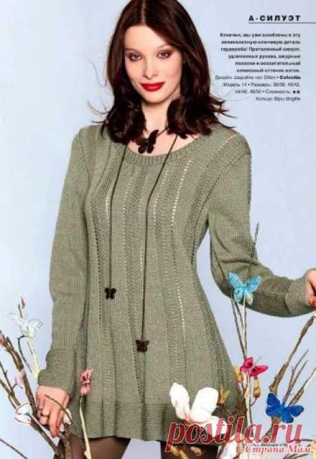 Стильный пуловер с вертикальными ажурными полосками. Спицы. Verena № 1-2017
