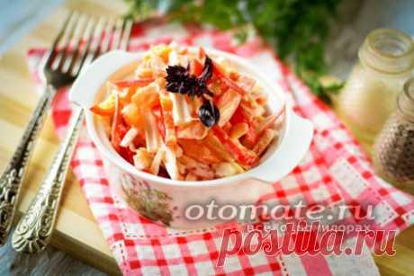 """Салат """"Остренький"""" с крабовыми палочками и помидорами и чесноком - пошаговый рецепт с фото"""