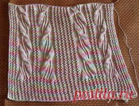Узор из листьями спицами » Ниткой - вязаные вещи для вашего дома, вязание крючком, вязание спицами, схемы вязания