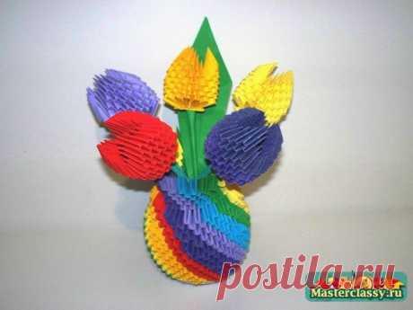 Модульное оригами Ваза для цветов. Мастер-класс