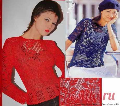 Вязание крючком - Филейное вязание - 12 моделей блузок и рубашек со схемами