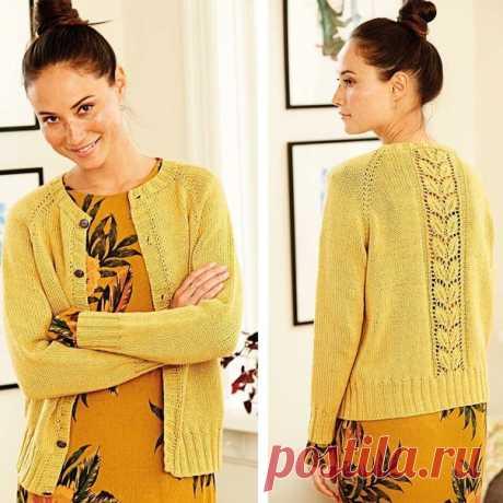 Желтый жакет с ажурным растительным узором на спинке #knitting #вязание_спицами #жакеты_спицами