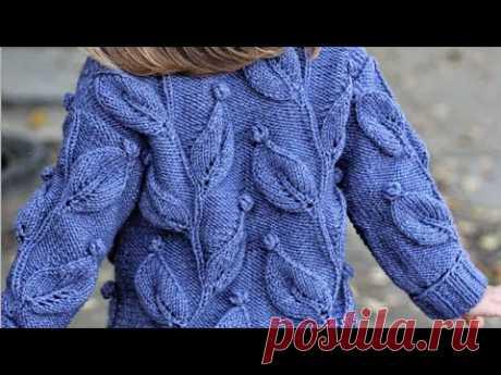 Шикарный узор спицами ( + схема) большие листья на ветке с шишечками для свитеров и кардиганов.