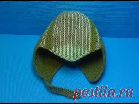 Вязание спицами детская спортивная шапочка #145
