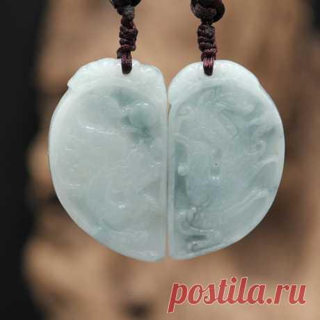 Jade couple necklace-jade necklace-dragon and phoenix pendant | Etsy