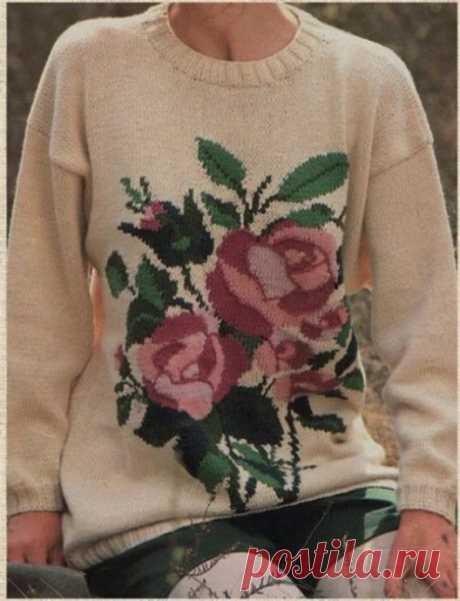 Сложный узор с розами для свитера