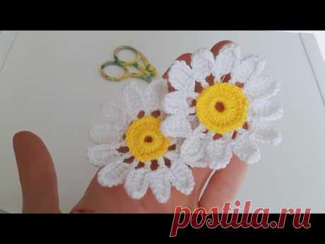 İstediğiniz Her Yerde Kullanabileceğiniz Örgü Papatya Modeli Knitting Daisy Flower #daisy #flower