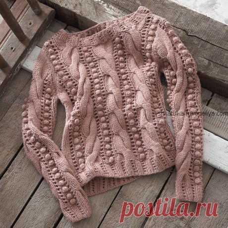 Свитер с косами и шишечками Узор для модного свитера спицами. Узор коса и шишечка для вязания свитера спицами 2018