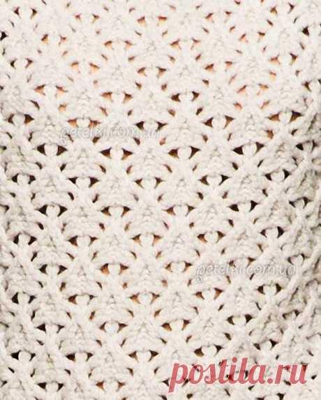 Beautiful openwork pattern for spokes. Scheme of knitting, description