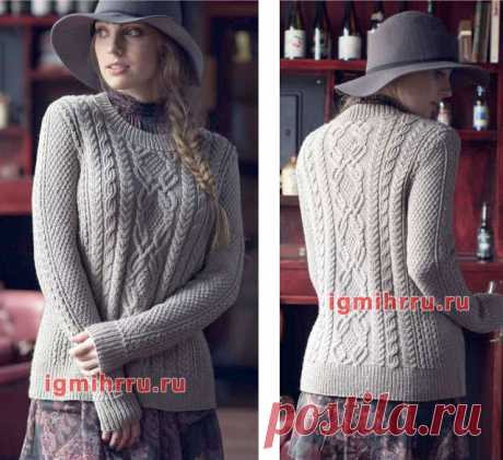 Элегантный пуловер с миксом узоров
