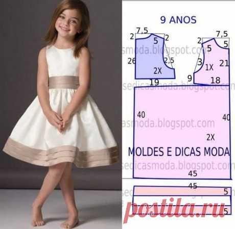 Выкройки летнего сарафанчика для девочки  от 1 года до 14 лет Выкройка летнего сарафанчика для девочки на возраст от 1 года до 14 лет источник