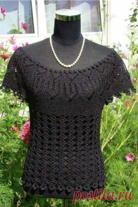 Черная майка – Мир вязания и рукоделия