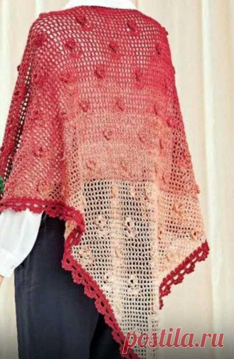Шаль с объемными цветочками Схема вязания филейной шали с объемными цветочками