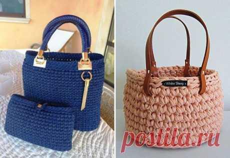 Модная сумка из трикотажной пряжи – клатч и рюкзак, торба и мешок, шоппер, круглая и прямоугольная трикотажная сумка