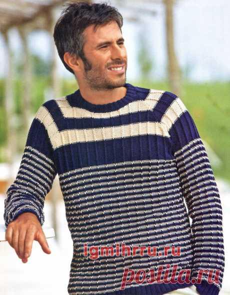 Двухцветный мужской пуловер с полосами. Вязание спицами со схемами и описанием