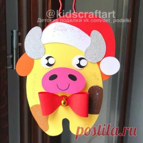 Зимние новогодние поделки: подвеска-бычок