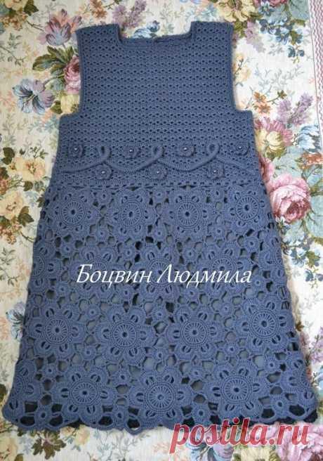 Красивое платье для девочек Автор: Боцвин Людмила  #платье #вяжемдевочкам #из_мотивов