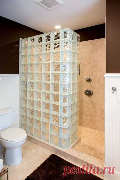 Glass Block Shower | The walk-in shower in the master bath f… | Flickr