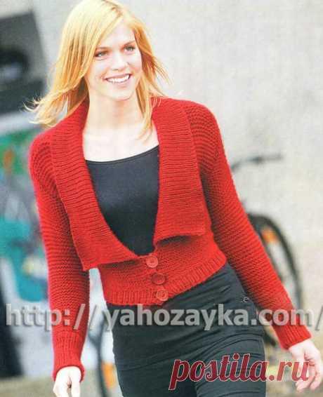 Короткий красный жакет - схема вязания + фото и описание Схема вязания спицами короткого красного жакета - вязание для домохоязек.