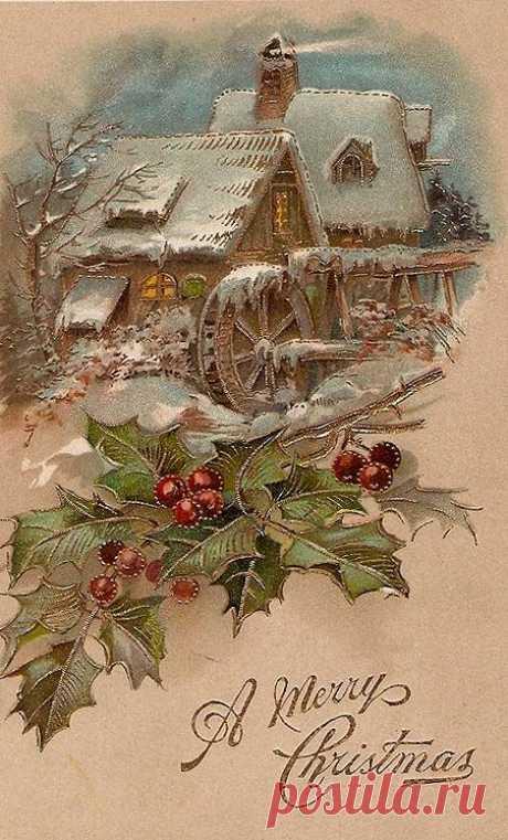 55 різдвяних вінтажних листівок | Ідеї декору