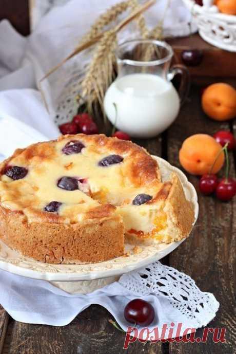 Цветаевский пирог с абрикосами и черешней.