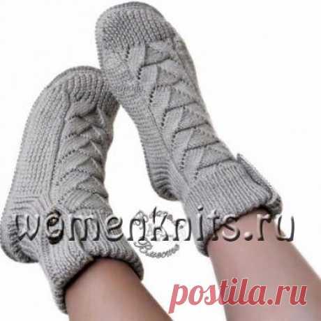 Носки - сапожки женские связаны спицами