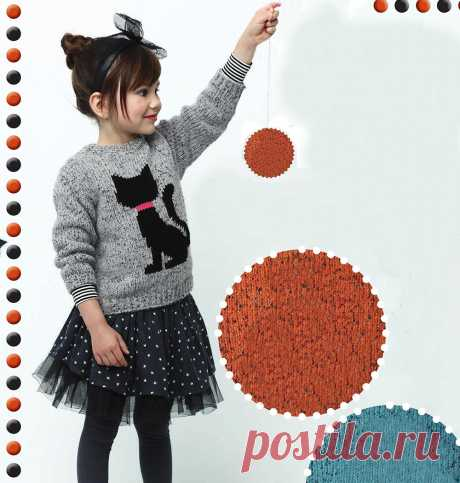 Pullover with a kitty - Knitting by spokes for children