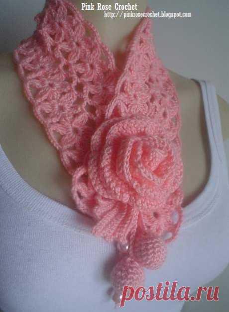 (1263) Golinha Flor Surprise - Crochet Scarflette - Pink Rose. Click on Gráfico Ponto for the diagram design | Вязание крючком