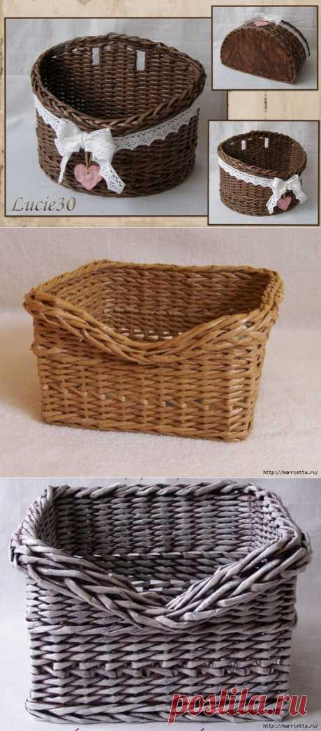 Мастер-класс по плетению скошенного верха корзинки.