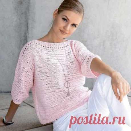 Розовый джемпер свободного силуэта - схема вязания спицами. Вяжем Джемперы на Verena.ru