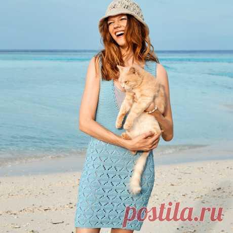Платье-туника с глубоким вырезом - схема вязания спицами с описанием на Verena.ru