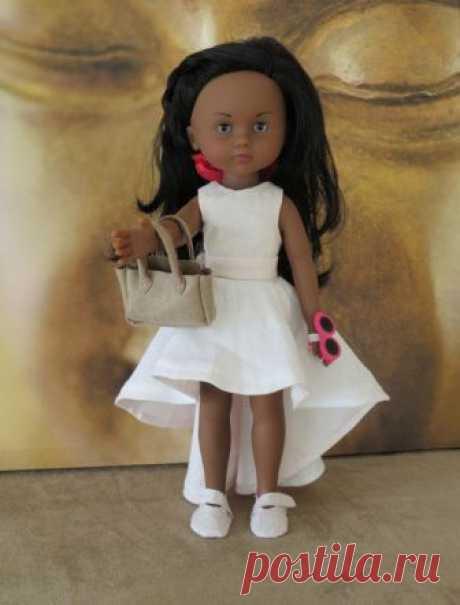 Выкройка платья с асимметричной юбкой для кукол 32 см   #выкройка@mamina_kukla