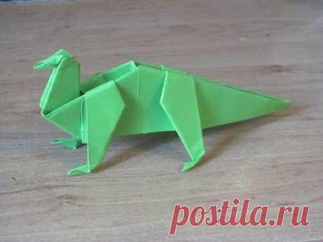Как сделать Динозавр 4 из бумаги оригами. Бумажный динозавр. Paper dinosaur origami