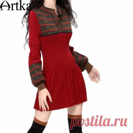 Artka ретро женская осеняя одежда круглым воротником с длиным рукавом удобное приталенное высококачественное элегантное длиное шерстяное платье (2 цвета) LB15838D купить на AliExpress