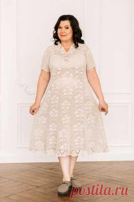 Женское платье из льна крючком