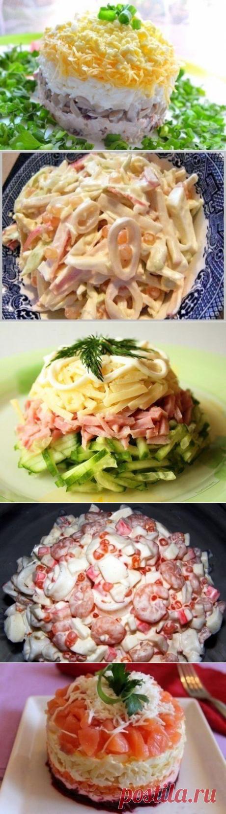 5 простых и вкусных салатов   =Салат «День и ночь» =Салат из кальмаров =Салат с яйцом и ветчиной =Салат «Нептун» =Сёмга на шубе