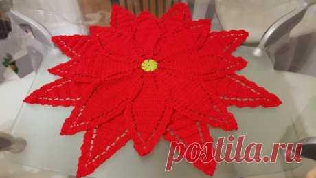 Цветок крючком на Рождество, как центральный стол | DIY - PatronesMil
