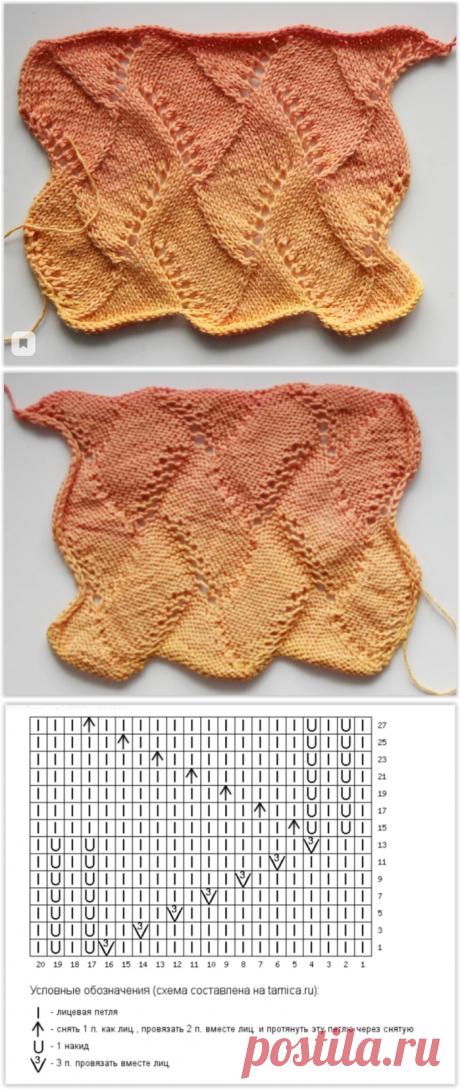 Интересный ажурный узор, который напоминает энтерлак - описание и схема вязания спицами