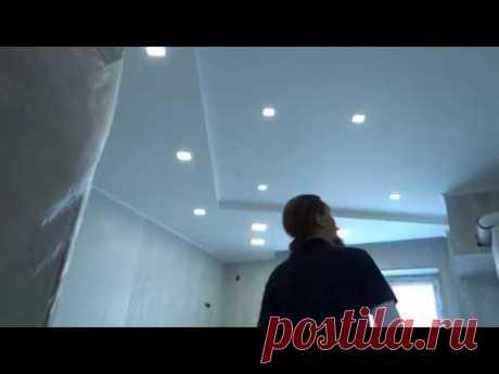 Комбинируем потолки из гипсокартона + натяжной с подсветкой ! Дизайн потолков